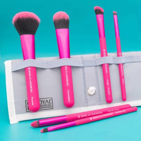Set pensule profesionale Royal & Langnickel MODA Total Face Flip Kit, 7 piese, Pink7