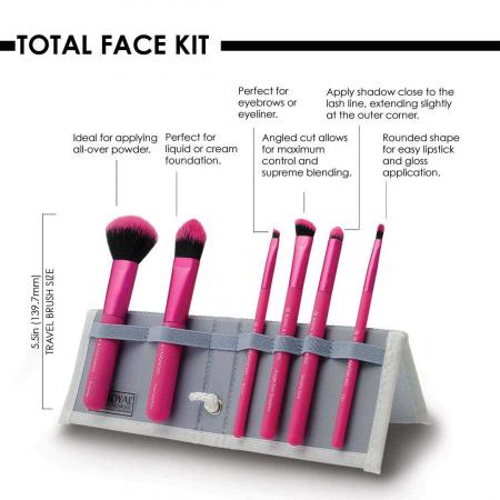 Set pensule profesionale Royal & Langnickel MODA Total Face Flip Kit, 7 piese, Pink1