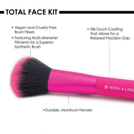 Set pensule profesionale Royal & Langnickel MODA Total Face Flip Kit, 7 piese, Pink2