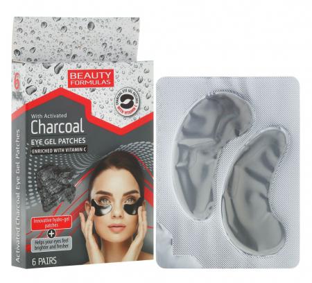 Set Plasturi Tratament pentru ochi cu Carbune Activ si Vitamina C, BEAUTY FORMULAS Eye Gel Patches, 6 seturi (12 plasturi)
