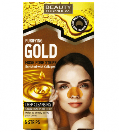 Set Plasturi pentru nas cu Aur si Colagen BEAUTY FORMULAS, Anti-Sebum, 6 benzi