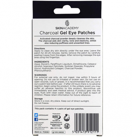 Set Plasturi Tratament pentru ochicu Carbune Activ SKIN ACADEMY Gel Eye Patches, 4 seturi (8 plasturi)2