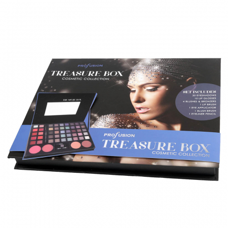 Set profesional pentru machiaj TREASURE BOX, Profusion Cosmetic Collection, 53 piese, Blue