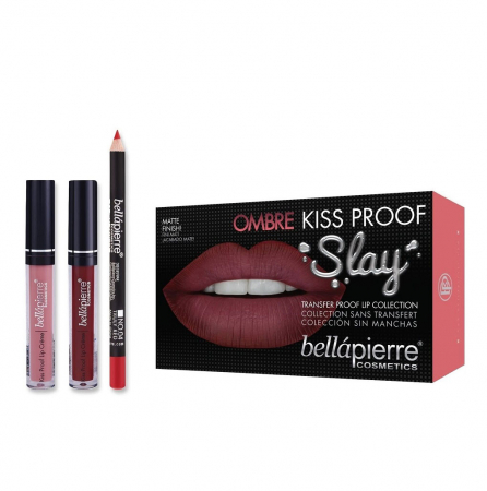Set Rezistent la Transfer pentru Buze, Bellapierre Kiss Proof Slay, Ombre, Transfer Lip Collection, 40's Red0