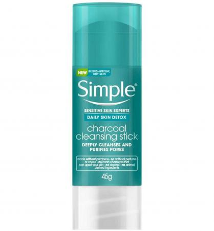 Stick pentru curatarea tenului gras cu Carbune Activ, Zinc si Turmeric Simple Daily Skin DETOX Stick, 45 g