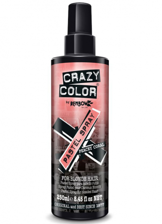 Spray colorant pentru parul blond, CRAZY COLOR Pastel Spray Peachy Coral, 250 ml0