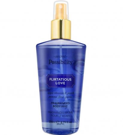 Spray parfumat pentru corp cu flori de mar, piersici si citrice Secret Possibility Flirtatious Love, 250 ml