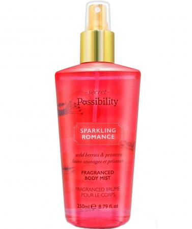 Spray parfumat pentru corp cu capsuni salbatice, piersici si sampanie Secret Possibility Sparkling Romance, 250 ml