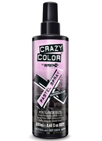 Spray colorant pentru parul blond, CRAZY COLOR Pastel Spray Marshmallow, 250 ml