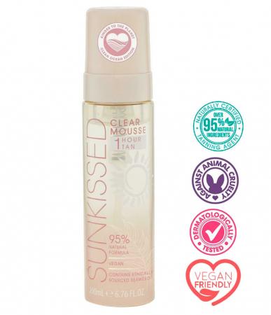 Spuma Autobronzanta Profesionala SUNKISSED Clear, 95% Ingrediente Naturale, 1Hour Tan, 200 ml1