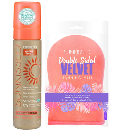 Set pentru autobronzare profesionala SUNKISSED Express 1 Hour, Light-Ultra Dark, 95% Ingrediente Naturale si Manusa