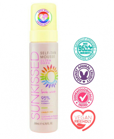 Spuma Autobronzanta Profesionala SUNKISSED Self-tan, Love Wins, Ultra-Dark, 95% Ingrediente Naturale, 200 ml1