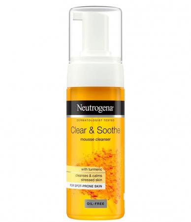 Spuma de curatare cu Turmeric pentru ten sensibil, acneic NEUTROGENA Clear & Soothe, 150 ml
