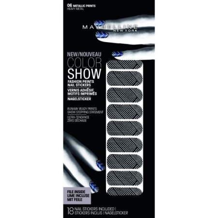 Stickere unghii Maybelline New York COLOR SHOW Fashion Prints, 06 Heavy Metal, 18 bucati