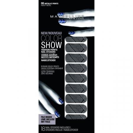 Stickere unghii Maybelline New York COLOR SHOW Fashion Prints, 06 Heavy Metal, 18 bucati0