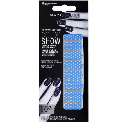 Stickere unghii Maybelline New York COLOR SHOW Fashion Prints, 13 Polka Dot, 18 bucati