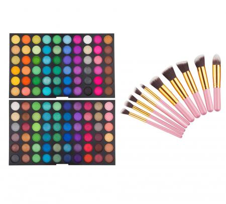 Set profesional pentru machiaj cu Trusa de Farduri 120 Nuante P2 si 10 Pensule Top Quality Kabuki, Pink Gold