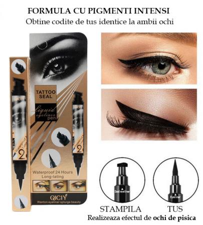 Tus de Ochi cu Stampila, Efect de Tatuaj, Rezistent la Apa 24h, Liquid Eyeliner Pen, Negru Intens, 5 g2
