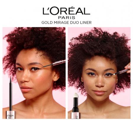 Tus de ochi duo L'Oreal Paris Gold Mirage Chameleon Quartz Shade Shifting, 01 Sapphire Light, Negru/Albastru2