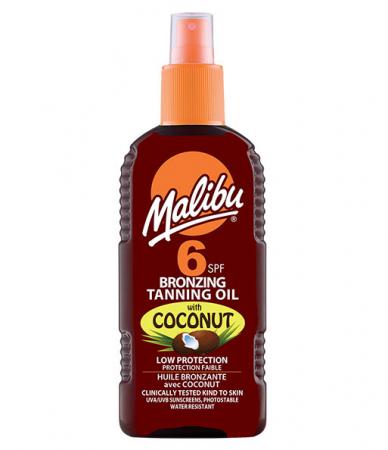 Ulei De Plaja Accelerator MALIBU Bronzing Tanning Oil cu Ulei de Cocos, SPF6, 200 ml