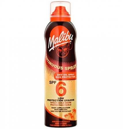 Ulei de Plaja MALIBU Continuous Spray Dry Oil, Rezistenta la apa, UVA/UVB, SPF6, 175 ml