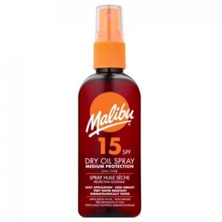 Ulei De Plaja MALIBU Dry Oil Spray cu Unt de Shea, UVA/UVB, SPF15, 100 ml (Travel size)
