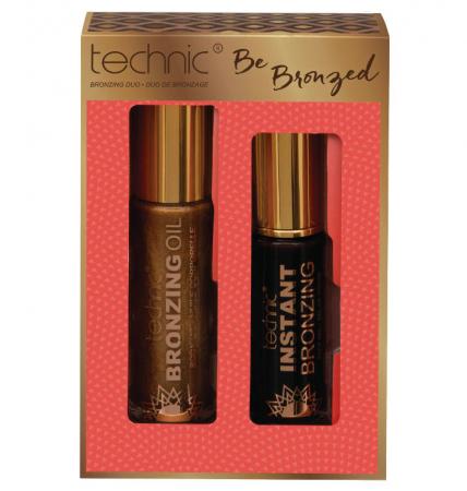 Set cu Ulei Stralucitor pentru corp si Gel autobronzant pentru ten, Technic Be Bronzed Bronzing Duo, 90 ml x 36 ml