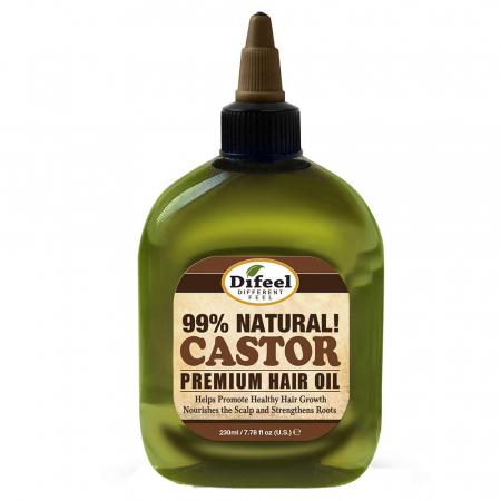 Ulei tratament premium cu Omega 6 pentru cresterea parului, Difeel 99% Natural din Ulei de Ricin, 75 ml