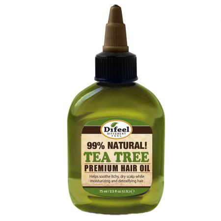 Ulei tratament premium detoxifiant pentru prevenirea scalpului uscat si al matretii, Difeel 99% Natural din Ulei de Arbore de Ceai, 75 ml