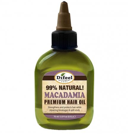 Ulei tratament premium pentru fire despicate si intarirea firului de par, Difeel 99% Natural din Ulei de Macadamia, 75 ml