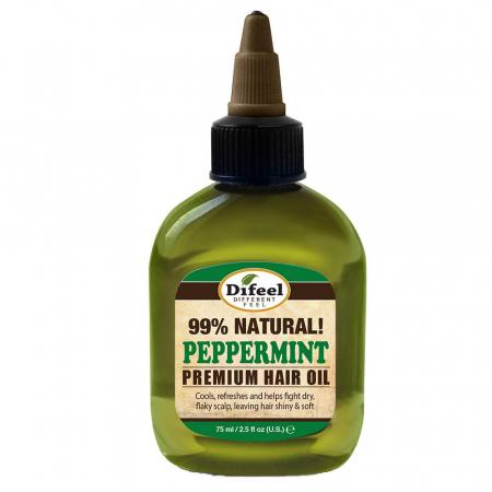 Ulei tratament premium pentru stralucire si accelearea cresterii parului, Difeel 99% Natural Peppermint, 75 ml