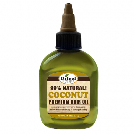 Ulei tratament premium pentru protejarea, regenerarea si intarirea firului de par, Difeel 99% Natural din Ulei de Cocos, 75 ml