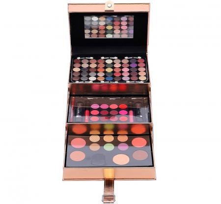 Set profesional pentru machiaj cu geanta reutilizabila Magic Color Makeup Kit, Rose Gold, 85 piese