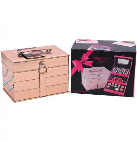 Set profesional pentru machiaj cu geanta reutilizabila Magic Color Makeup Kit, Rose Gold, 85 piese1