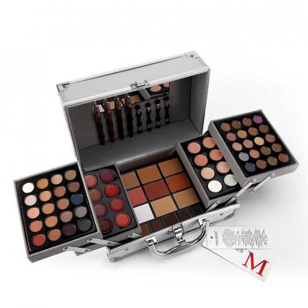 Valiza De Machiaj Multifunctionala Miss Rose Professional Makeup, Simple Silver Case