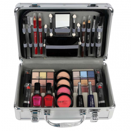 Valiza Profesionala Machiaj, Multifunctionala, Magic Color Makeup Kit, Silver Diamond