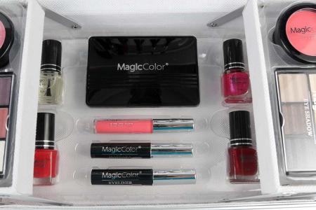 Valiza Profesionala Machiaj, Multifunctionala, Magic Color Makeup Kit, Charming Silver3