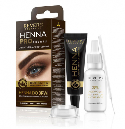 Vopsea Profesionala Crema pentru Sprancene Revers HENNA PROcolors BIO Formula cu Ulei de Argan si de Ricin, 3.0 Dark Brown, Maro Inchis