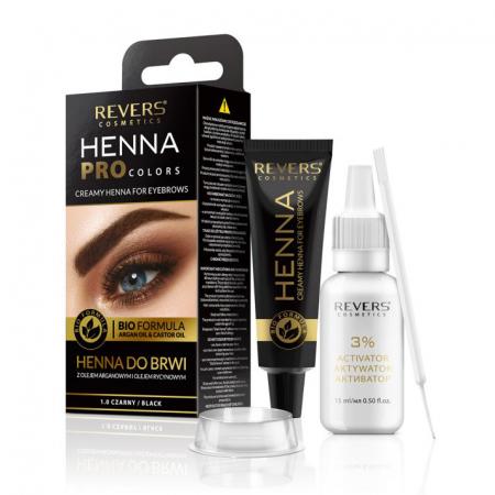 Vopsea Profesionala Crema pentru Sprancene Revers HENNA PROcolors BIO Formula cu Ulei de Argan si de Ricin, 1.0 Black, Negru