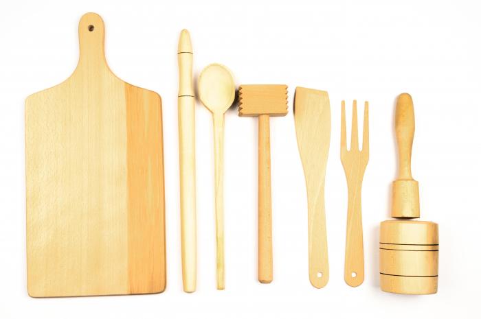 Kit ustensile din lemn pentru bucătărie [0]
