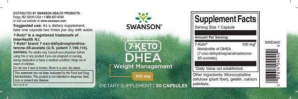 Arzator de Grasimi si Slabit, Complex Termogenic Patentat, Swanson Diet 7-Keto DHEA - 30 capsule (30 doze) [1]