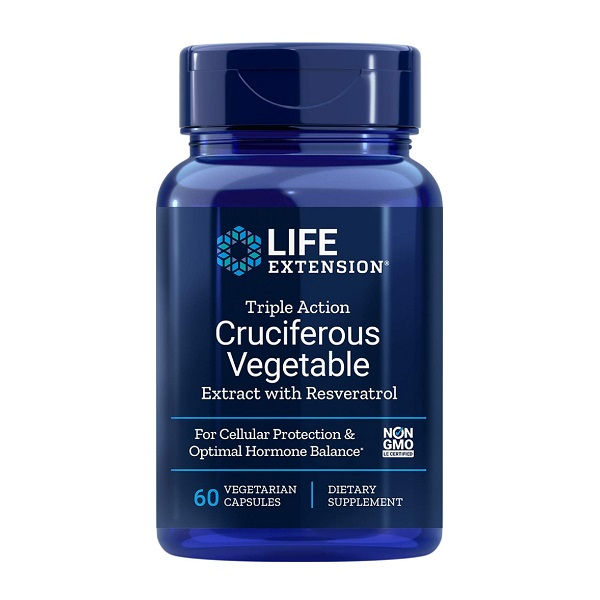 Complex Anti-Aging, Crucifere si Resveratrol, Life Extension Triple Action Cruciferous Vegetable Extract with Resveratrol - 60 capsule (60 doze) [0]