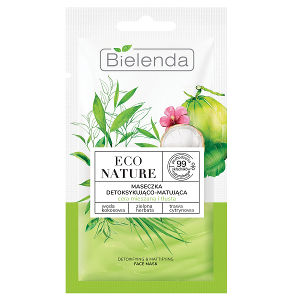 Masca de fata Detoxifianta si Matifianta cu Apa de Cocos, Ceai Verde si Lemon Grass - 8 g [0]