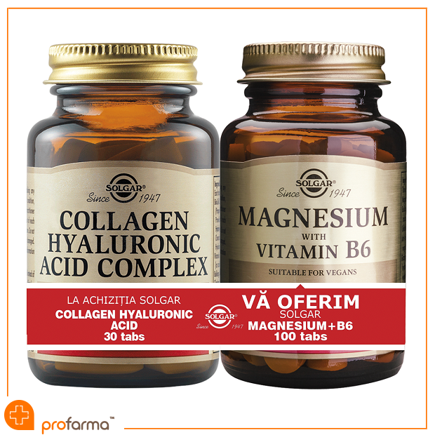 Pachet 1+1 Collagen Hyaluronic Acid (120 mg) - 30 tablete + Magnesium with Vitamin B6 - 100 tablete [0]