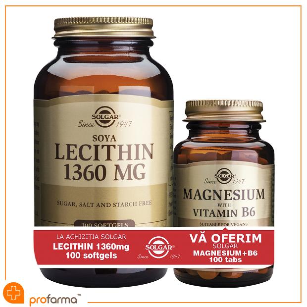 Pachet 1+1 Lecithin (1360 mg) - 100 capsule + Magnesium with Vitamin B6 - 100 tablete [0]