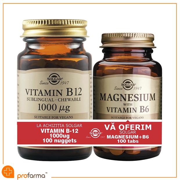 Pachet 1+1 Vitamin B12 (1000 g) - 100 tablete + Magnesium with Vitamin B6 - 100 tablete [0]