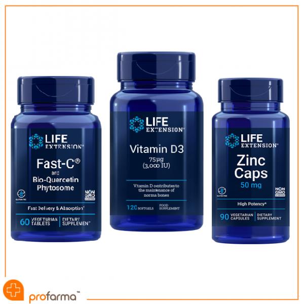 Pachet pentru Imunitate, (Antiviral),Vitamina C, D3, Quercetina si Zinc, Life Extension - Set [0]