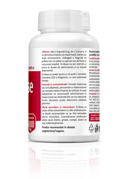 Supliment alimentar, D-Ribose - 140 g (pulbere) [3]