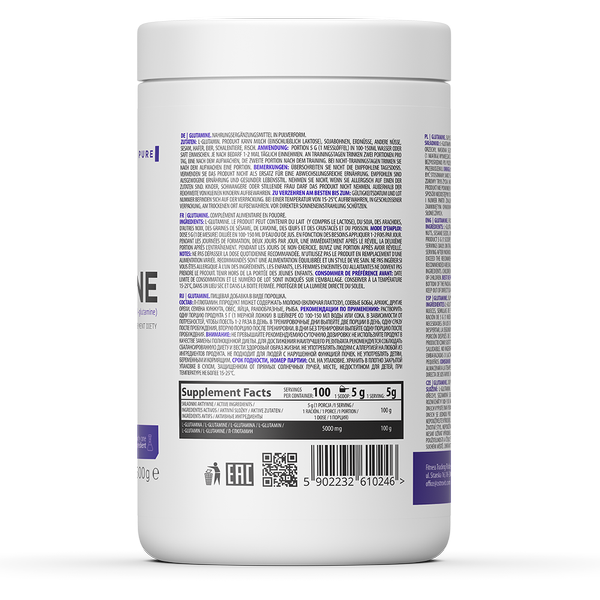 Supliment alimentar, L-Glutamina (5000 mg), OstroVit Supreme Pure Glutamine - 500 g (100 doze) [1]