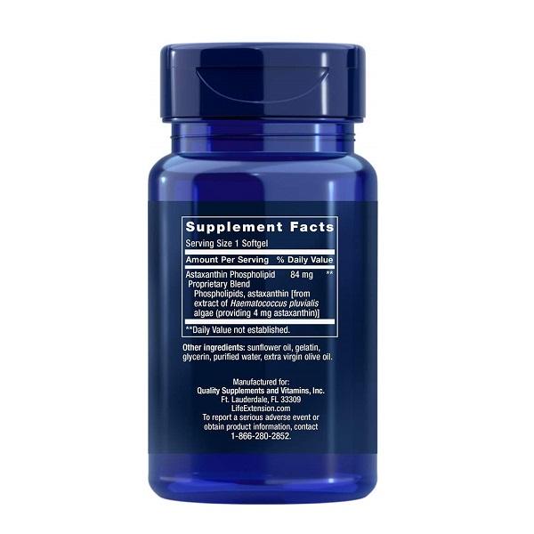 Supliment alimentar, Astaxantina cu Fosfolipide (84 mg), Life Extension Astaxanthin with Phospholipids - 30 capsule (30 doze) [1]